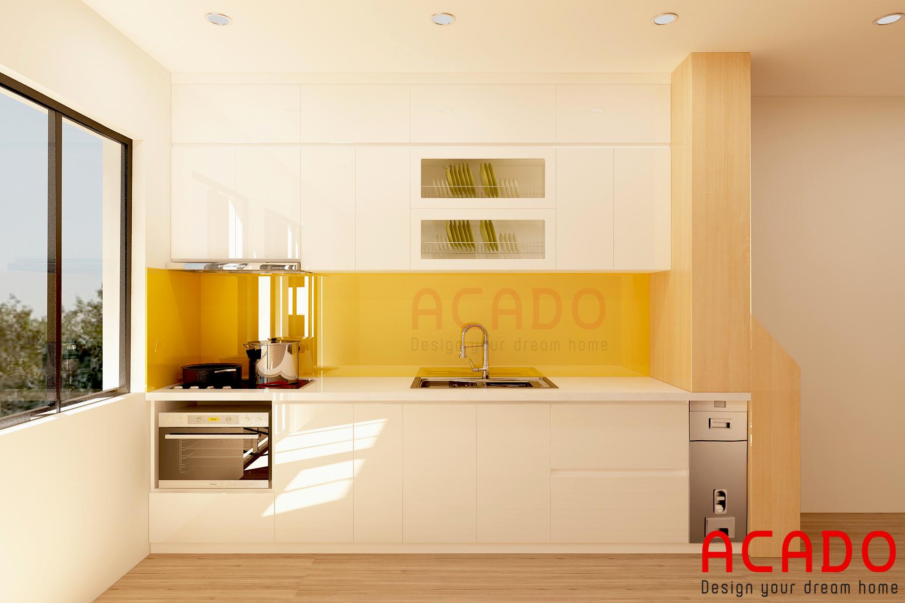 Tủ bếp Acrylic trắng bóng gương mang đến không gian bếp hiện đại, sang trọng