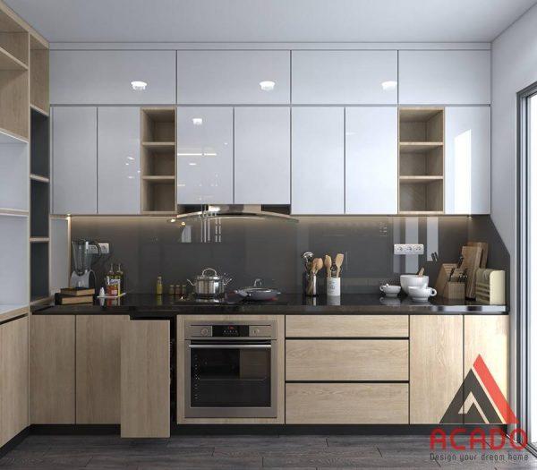 Mẫu tủ bếp Acrylic bóng gương thông minh và đầy đủ tiện nghi và kính bếp màu đen hiện đại