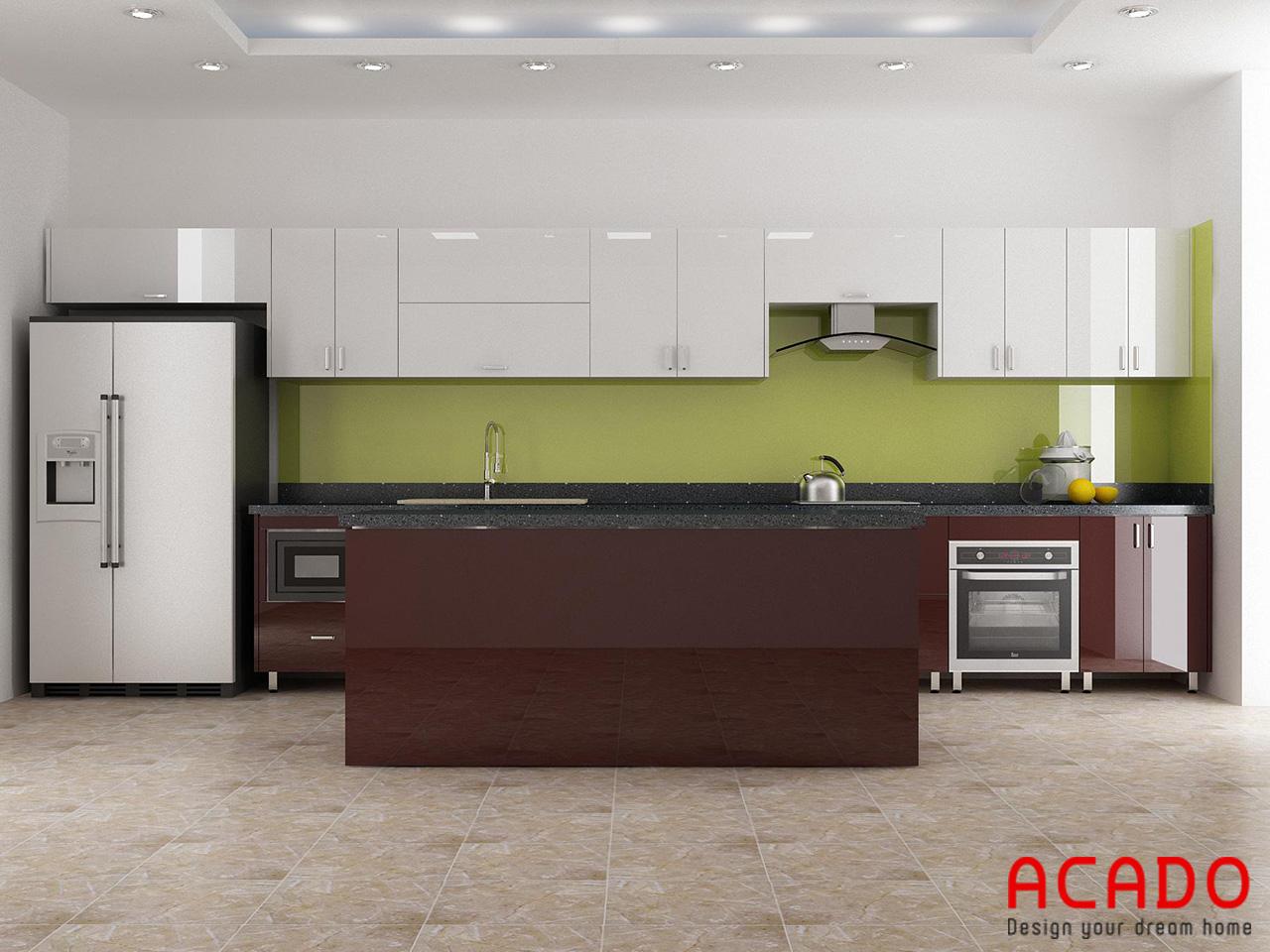Tủ bếp inox 304 cánh gỗ công nghiệp Acrylic bóng gương chắc chắn, bền đẹp