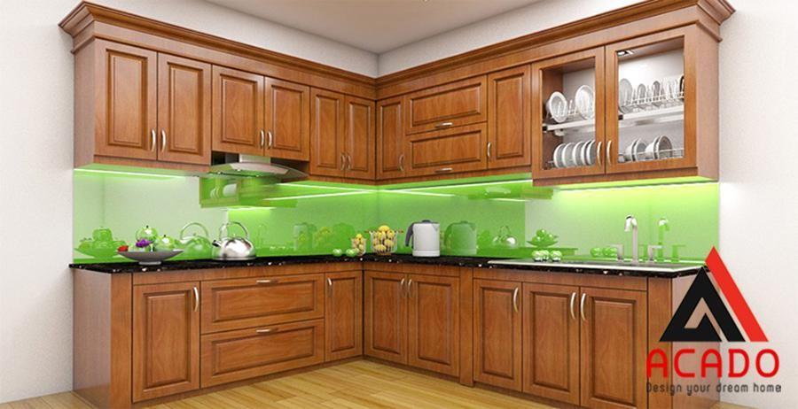 Mẫu tủ bếp gỗ Sồi Nga đẹp
