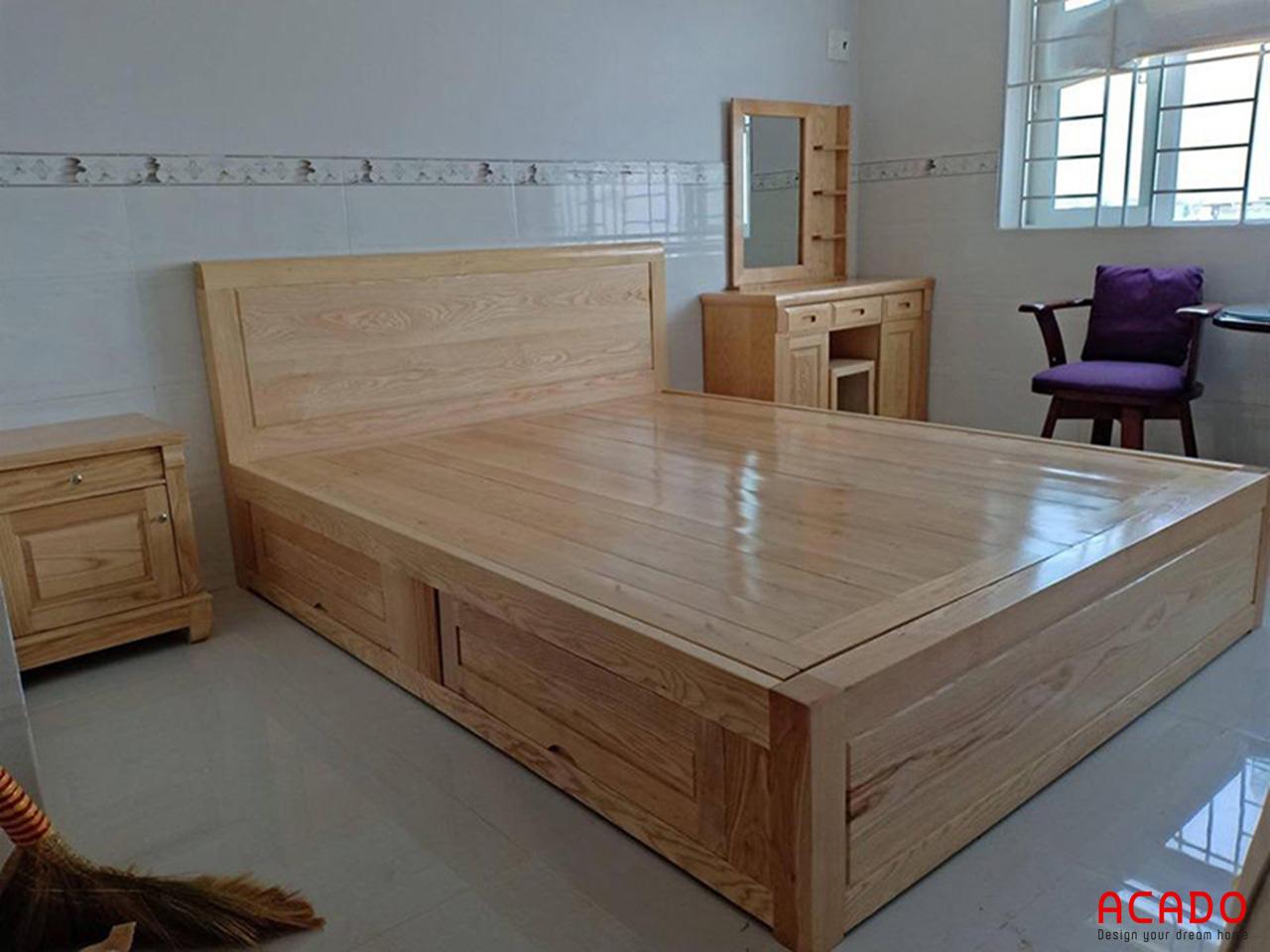 Với những đường vân gỗ tự nhiên mộc mạc, gường ngủ gỗ sồi nga đang rất được ưa chuộng