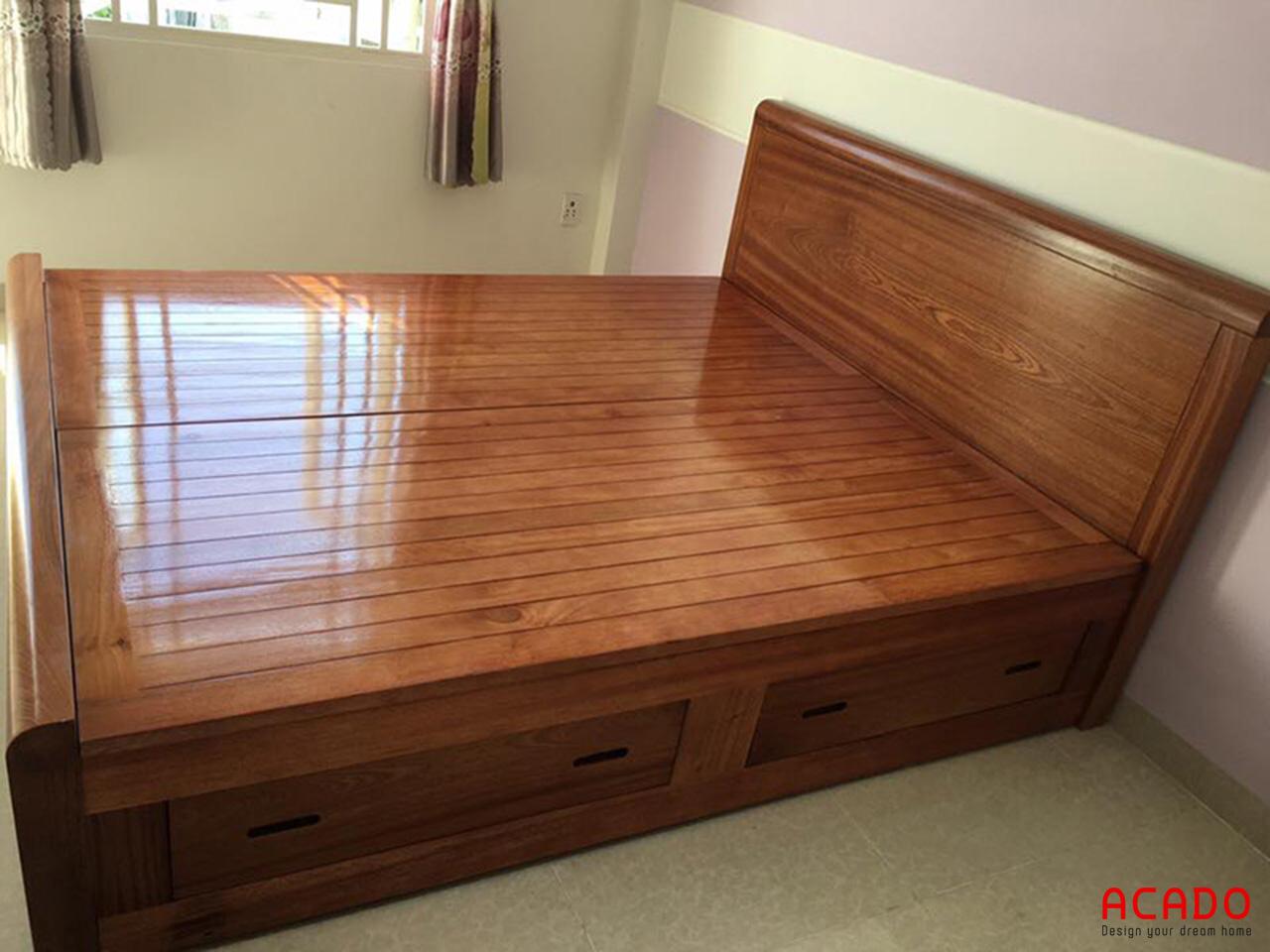 Giường ngủ gỗ hương xám cao cấp, thể hiện đẳng cấp của gia chủ