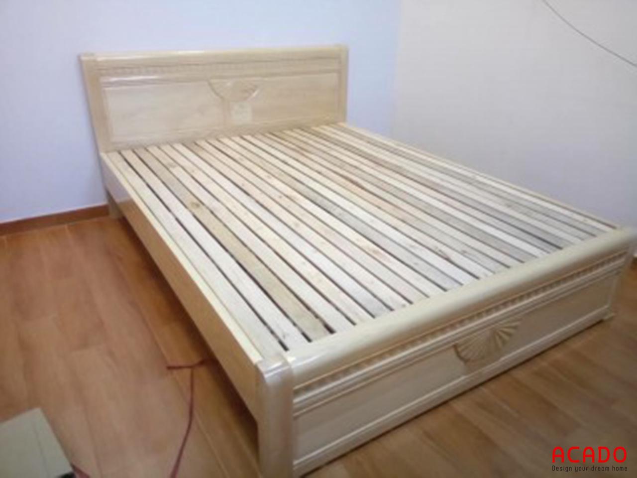 Giường ngủ gỗ sồi Nga tự nhiên đẹp, sang trọng tại Acado