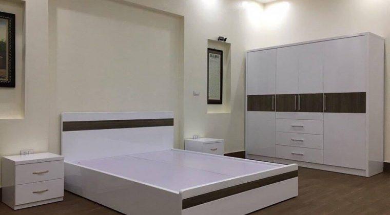 Giường ngủ Laminate màu sắc đồng bộ với không gian phòng