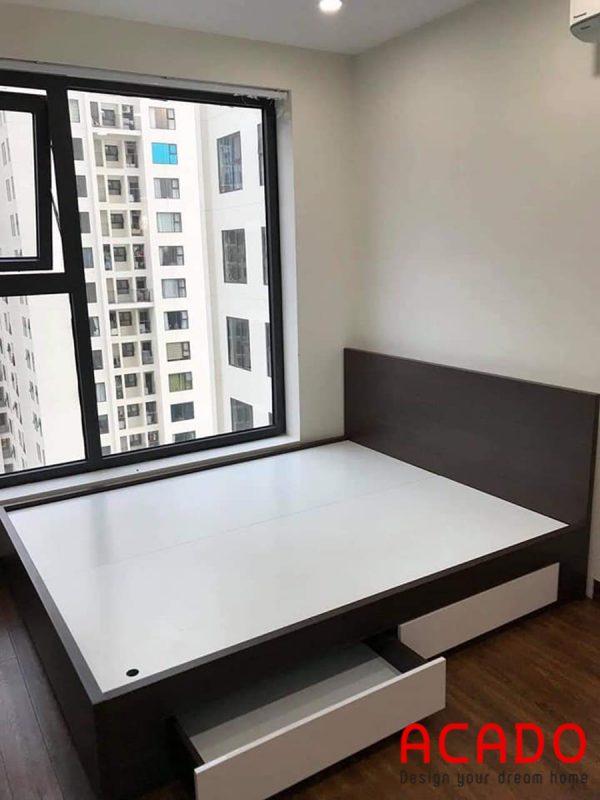 Giường gỗ công nghiệp có thiết kế ngăn kéo tiện lợi