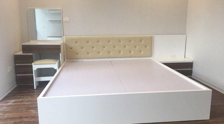 Giường ngủ hiện đại được làm từ chất liệu gỗ công nghiệp Melamine