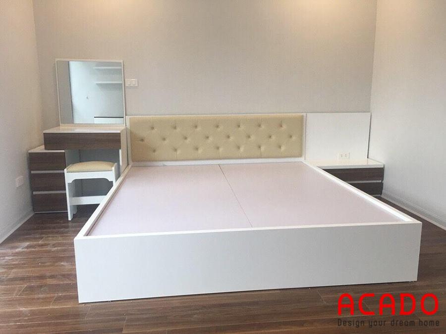 Giường ngủ Melamine màu trắng sang trọng, hiện đại cho bạn tham khảo