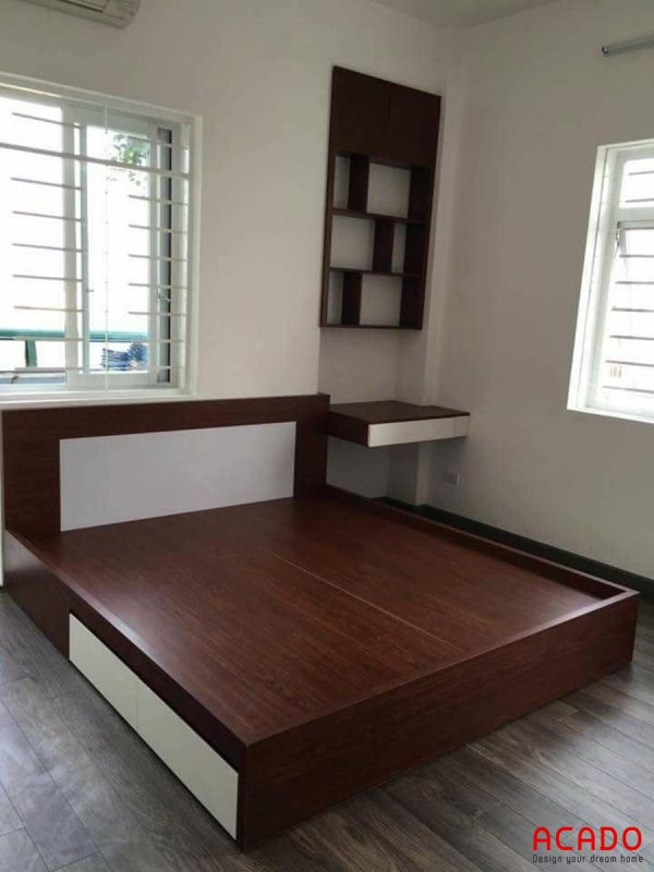 Giường ngủ gỗ công nghiệp Laminate đẹp, hiện đại