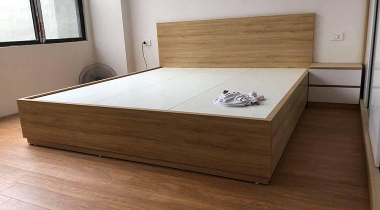Giường ngủ gỗ công nghiệp Melamine hiện đại, trẻ trung