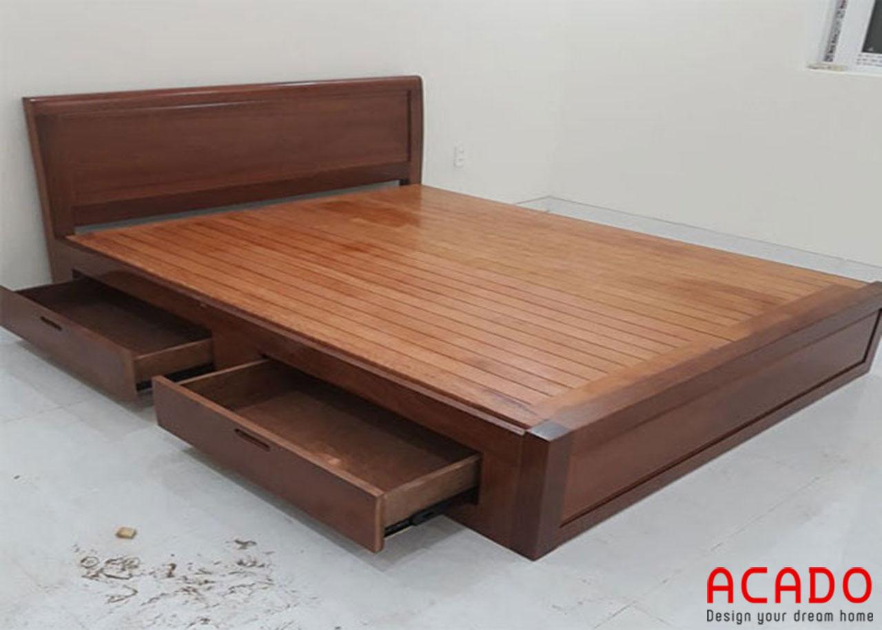 Giường ngủ gỗ xoan đào tự nhiên thiết kế thêm ngăn kéo để đồ
