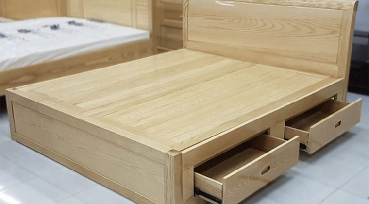 Giường ngủ gỗ sồi nga thiết kế ngăn kéo tiện lợi
