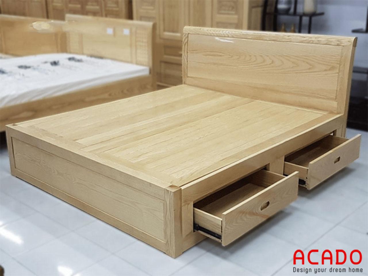 Giường ngủ gỗ sồi Nga thiết kế có thêm ngăn kéo tiện lợi
