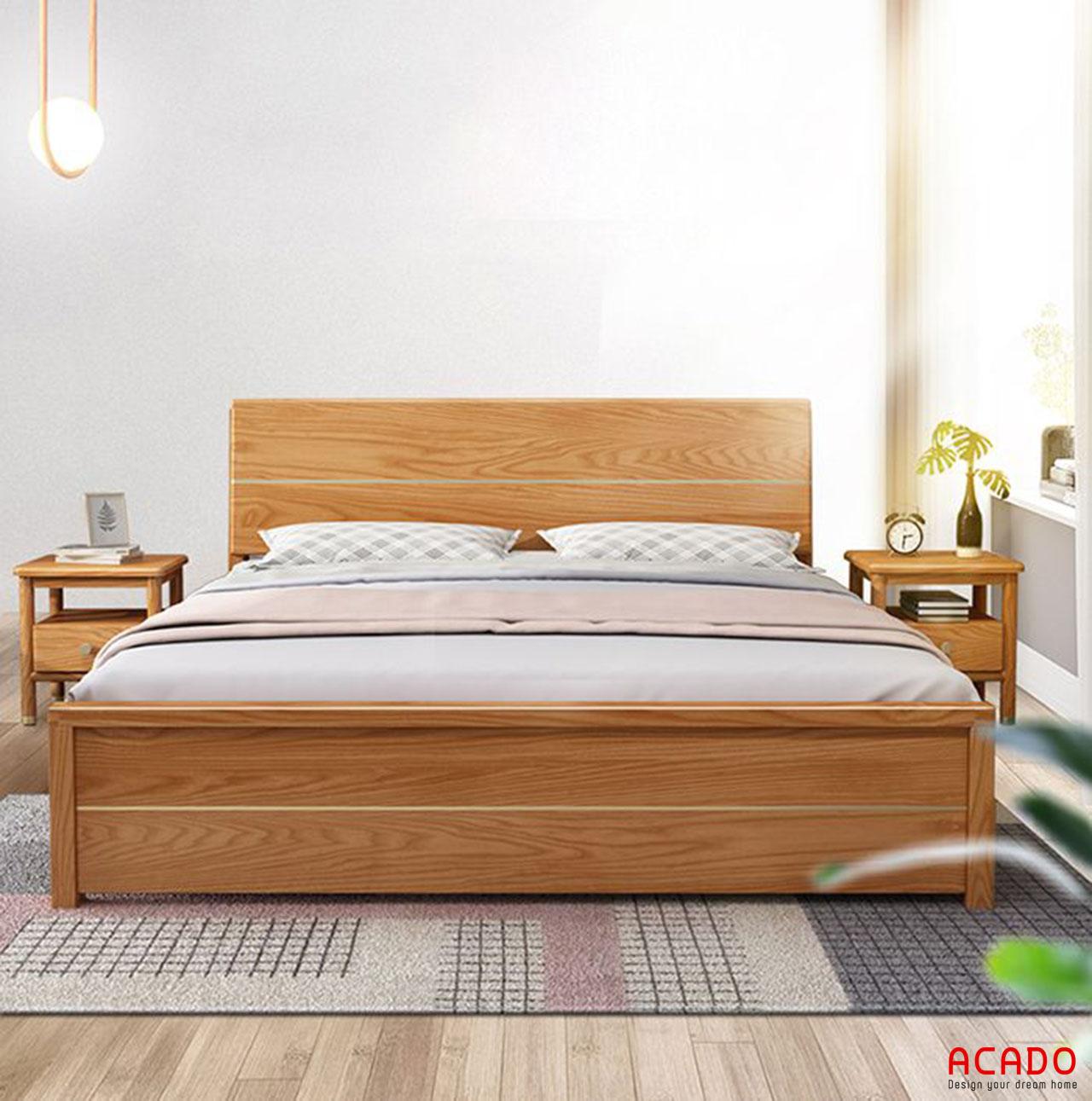 Giường gỗ tự nhiên hiện đại, giá rẻ - nội thất Acado