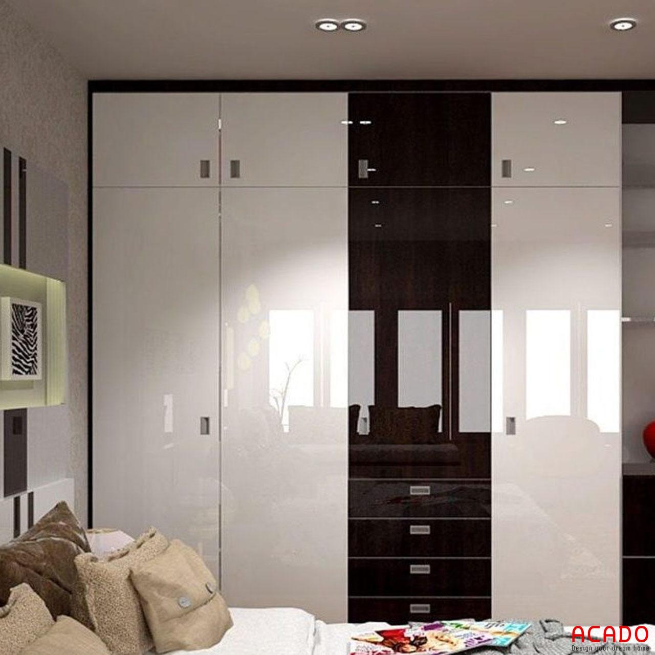 Tủ quần áo làm từ chất liệu Acrylic bóng gương sang trọng cho không gian phòng ngủ