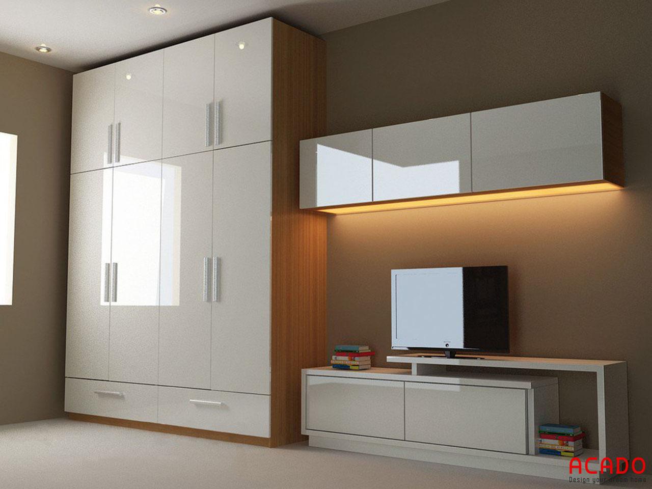 Tủ quần áo gỗ công nghiệp Acrylic hiện đại, sang trọng tại nội thất Acado