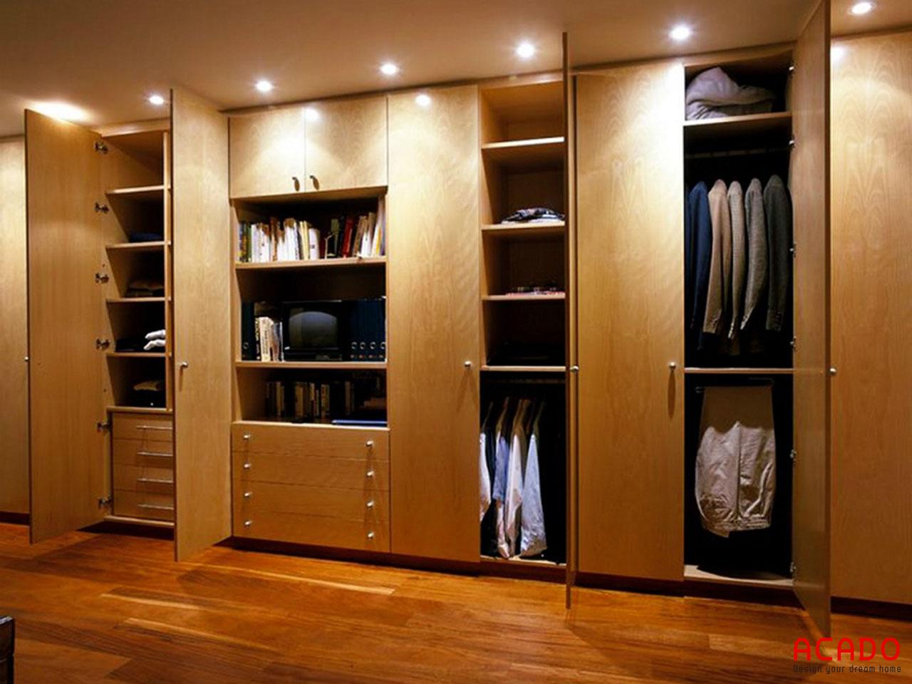 Tủ quần áo với nhiều ngăn tiện lợi, thoải mái không gian cho bạn để đồ