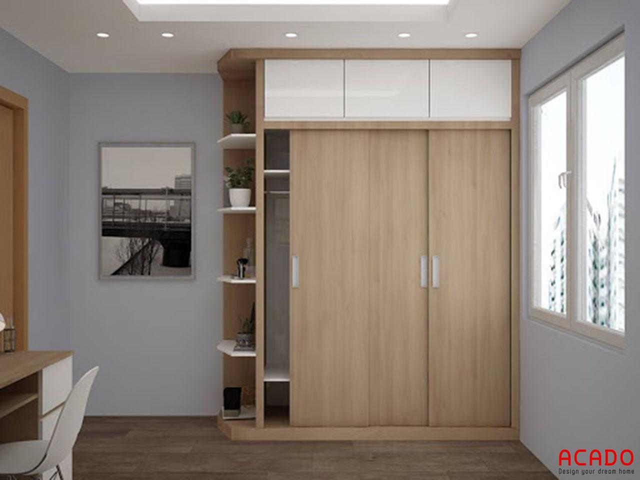 Tủ quần áo gỗ Melamine màu vân gỗ sát trần thoải mái không gian chứa đồ cho bạn