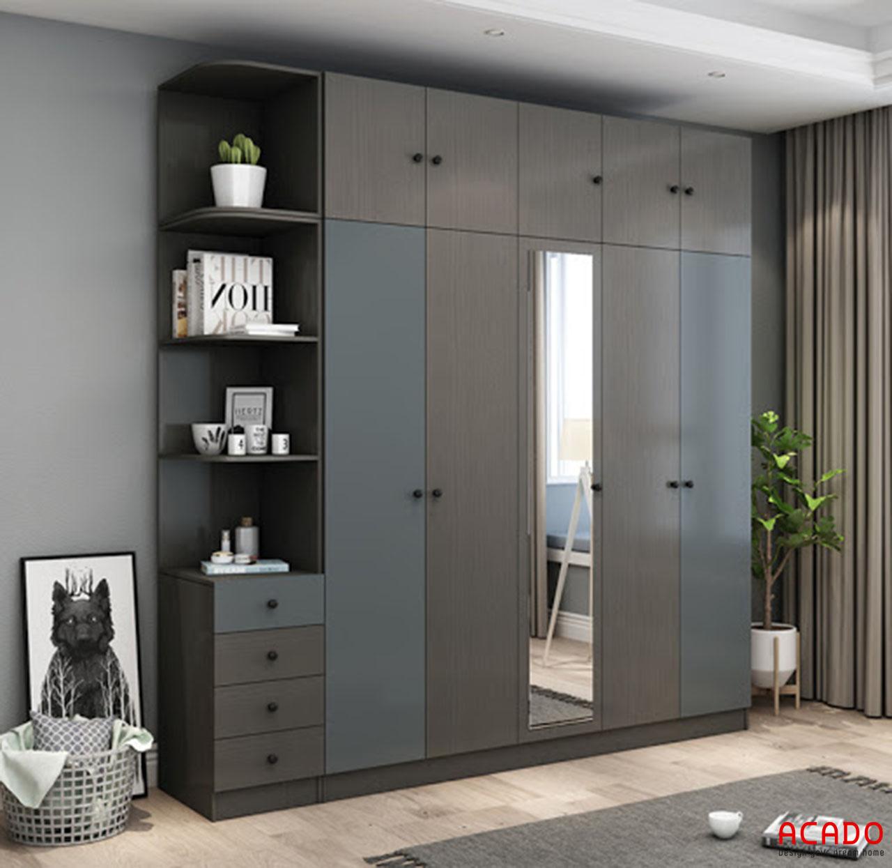 Tủ quần áo Acrylic gỗ công nghiệp có kết hợp gương soi tiện lợi