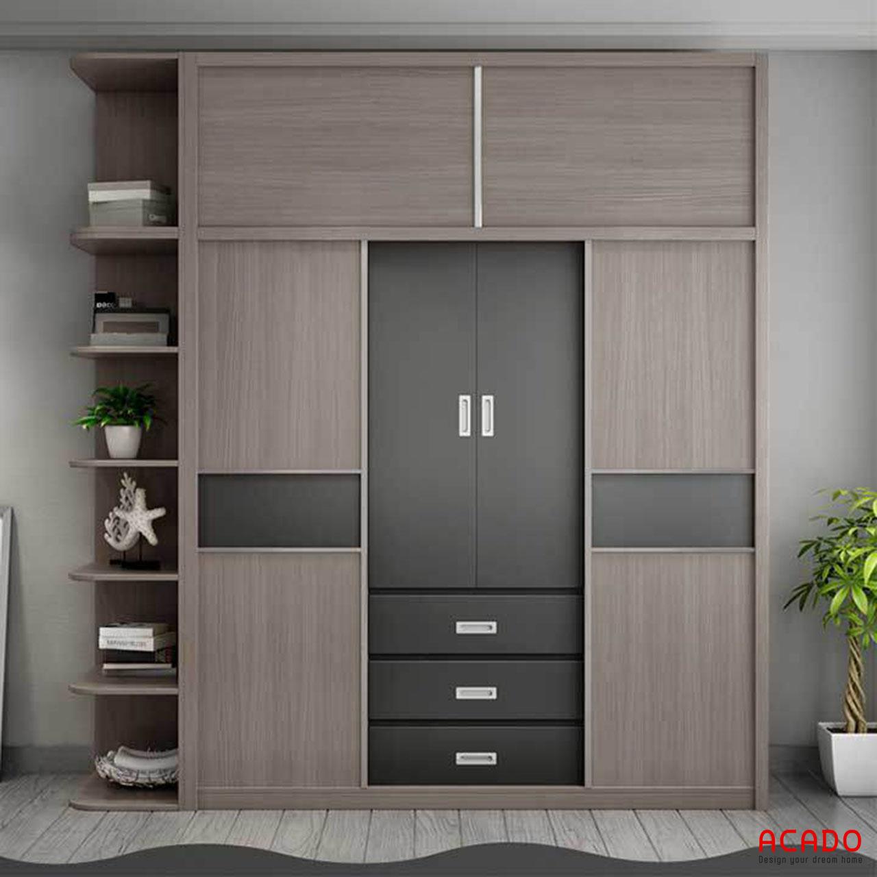 Tủ quần áo laminate có kết hợp các đợt trang trí - nội thất Acado