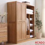 Tủ quần áo gỗ sồi tự nhiên cánh lùa hiện đại, trẻ trung cho không gian phòng ngủ