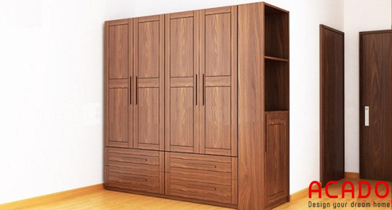 Tủ quần áo gỗ tự nhiên phun sơn màu óc chó sang trọng, hiện đại
