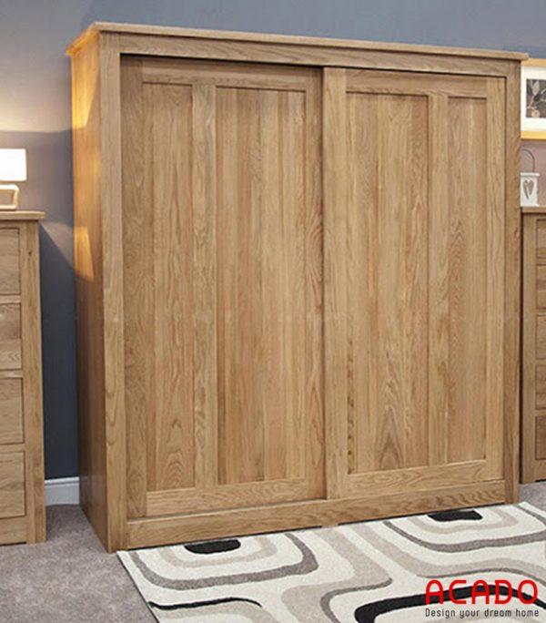 Tủ quần áo gỗ sồi Nga cánh lùa hiện đại, trẻ trung