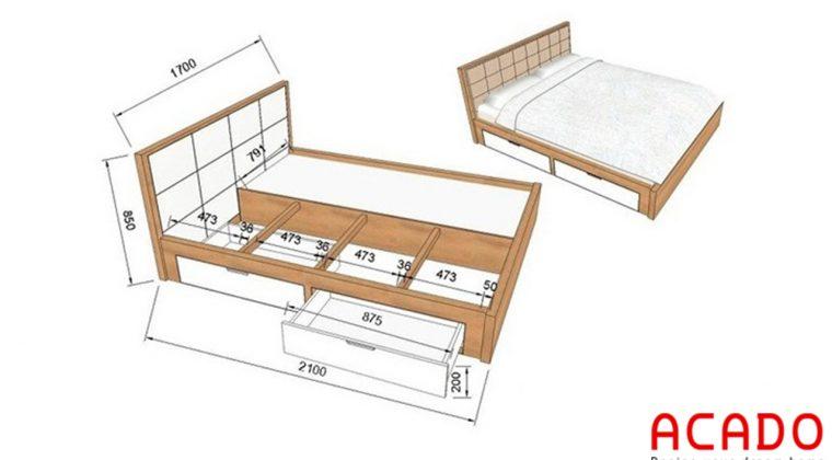 Cấu tạo giường gỗ công nghiệp- nội thất Acado