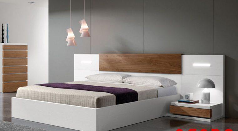 Giường Acrylic trắng pha thêm một chút màu vân gỗ làm điểm nhấn