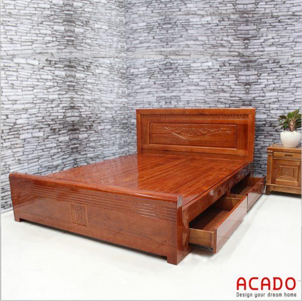 Giường ngủ gỗ xoan đào đẹp, sang trọng - nội thất Aacdo