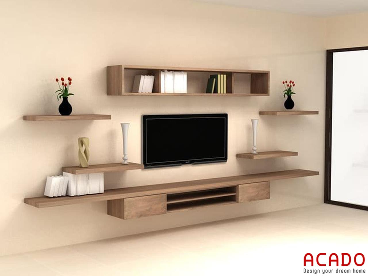 Kệ tivi treo tường chất liệu gỗ Sồi kiểu dáng đơn giản, hiện đại cho bạn tham khảo