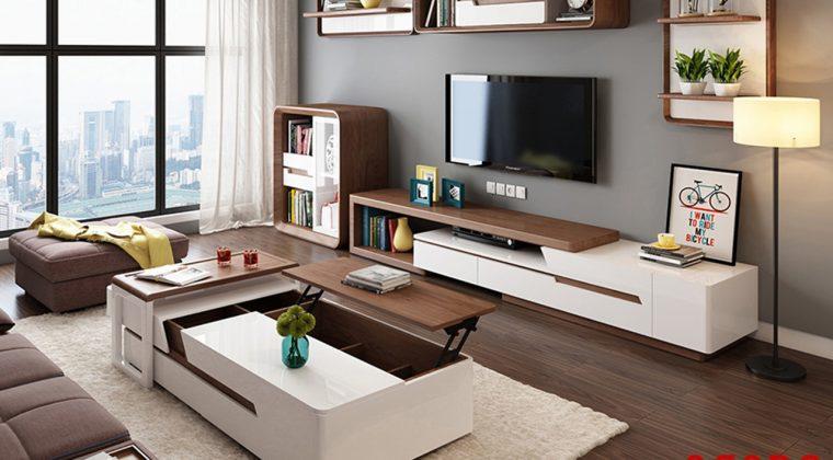 Kệ tivi gỗ công nghiệp với thiết kế đồng bộ với không gian phòng khách