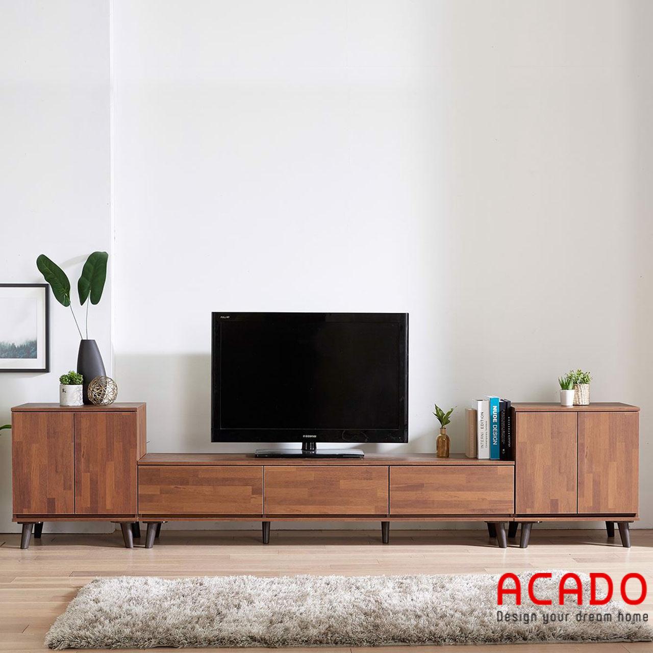 Kệ tivi chất liệu gỗ tự nhiên kiểu dáng đơn giản, hiện đại