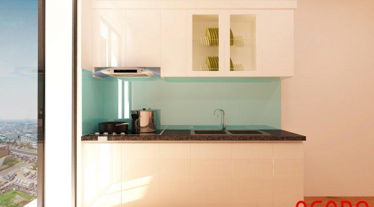 Tủ bếp Picomat đẹp cánh Acrylic kết hợp kính bếp màu xanh mát mẻ, thu hút
