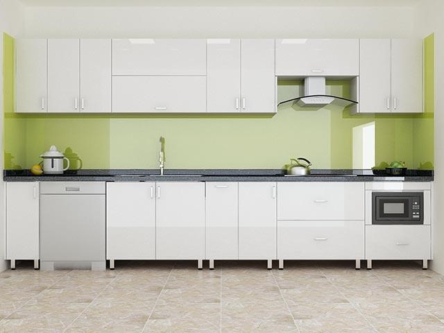 Tủ bếp Acrylic chữ I màu trắng sang trọng