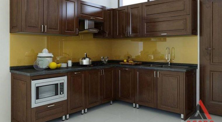 Tủ bếp inox cánh gỗ tự nhiên đẹp , bền với thời gian