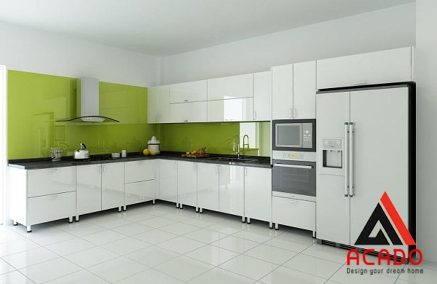 Tủ bếp inox chữ L kiểu dáng trẻ trung, thanh lịch , tone màu trắng hiện đại