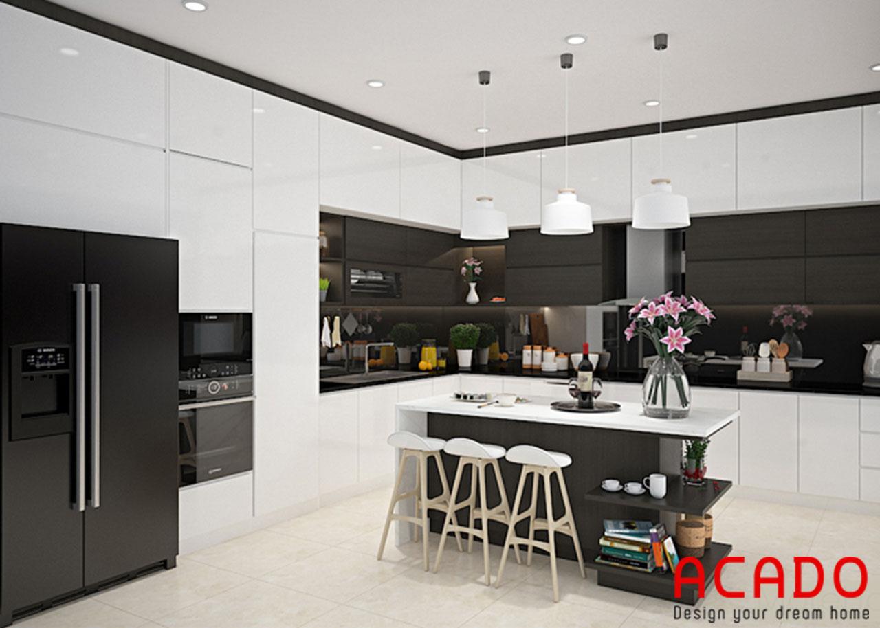 Thiết kế nội thất phòng bếp chung cư với tone màu trắng đen hiện đại, sang trọng