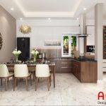 Thiết kế nội thất phòng bếp cho chung cư chất liệu gỗ tự nhiên