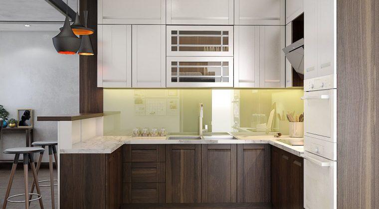 Tủ bếp gỗ tự nhiên màu óc chó sang trọng - đẳng cấp