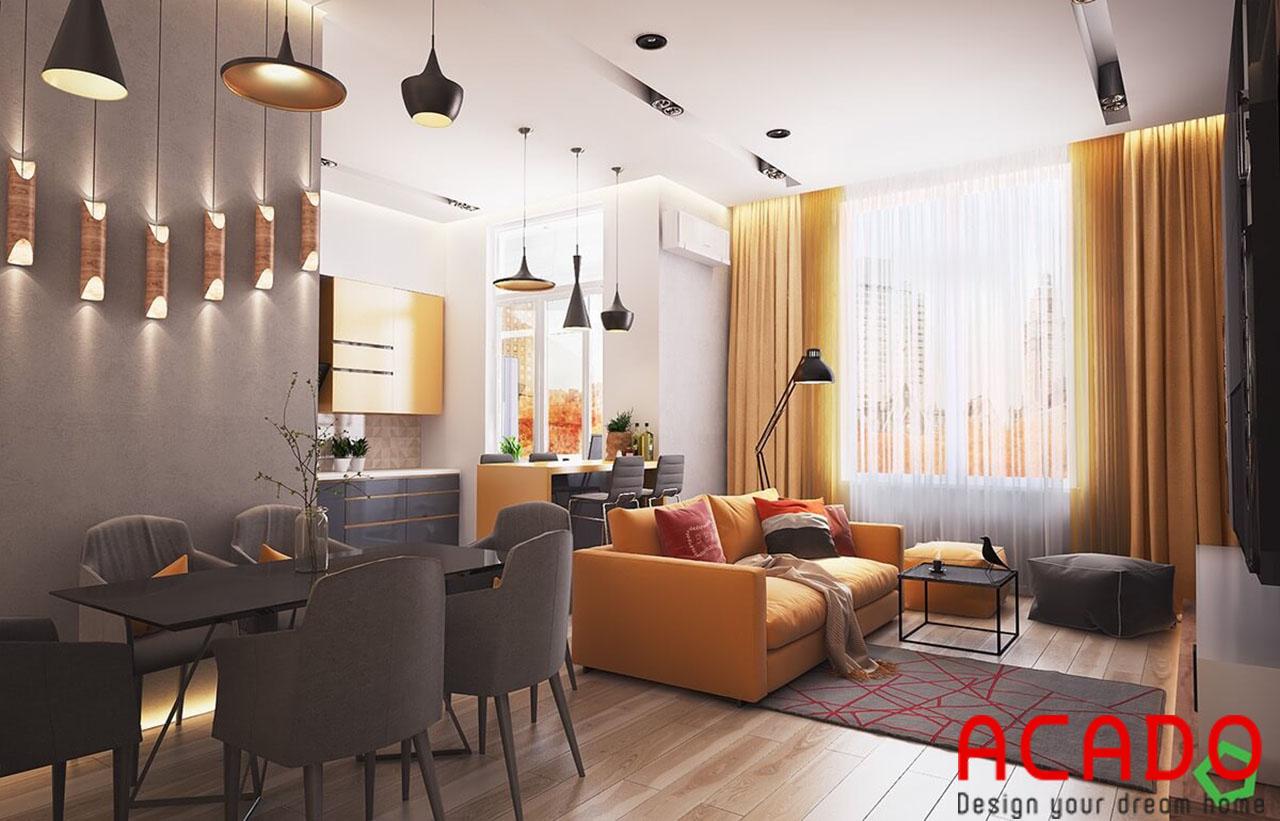 Kết hợp nhiều màu sắc cho bạn một không gian phòng khách nổi bật, đặc sắc