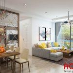 Thiết kế nội thất phòng khách chung cư với những gam màu tươi sáng