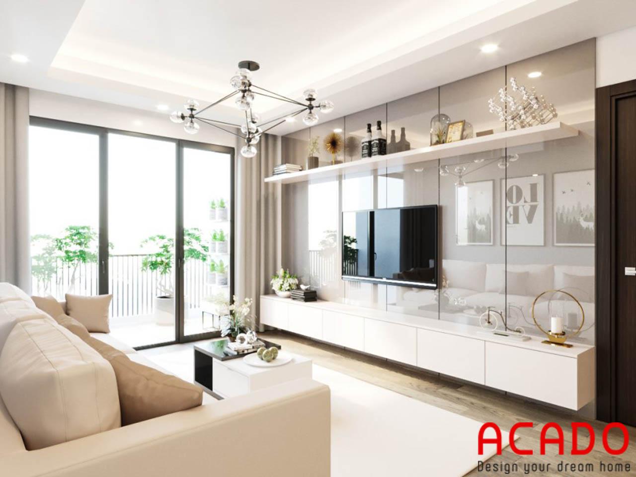Thiết kế nội thất phòng khách theo phong cách hiện đại - Acado.vn