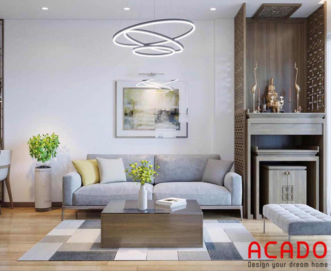 Với những không gian phòng khách nhỏ nên chọn đồ nội thất có gam máu sáng tạo sự thoáng mát