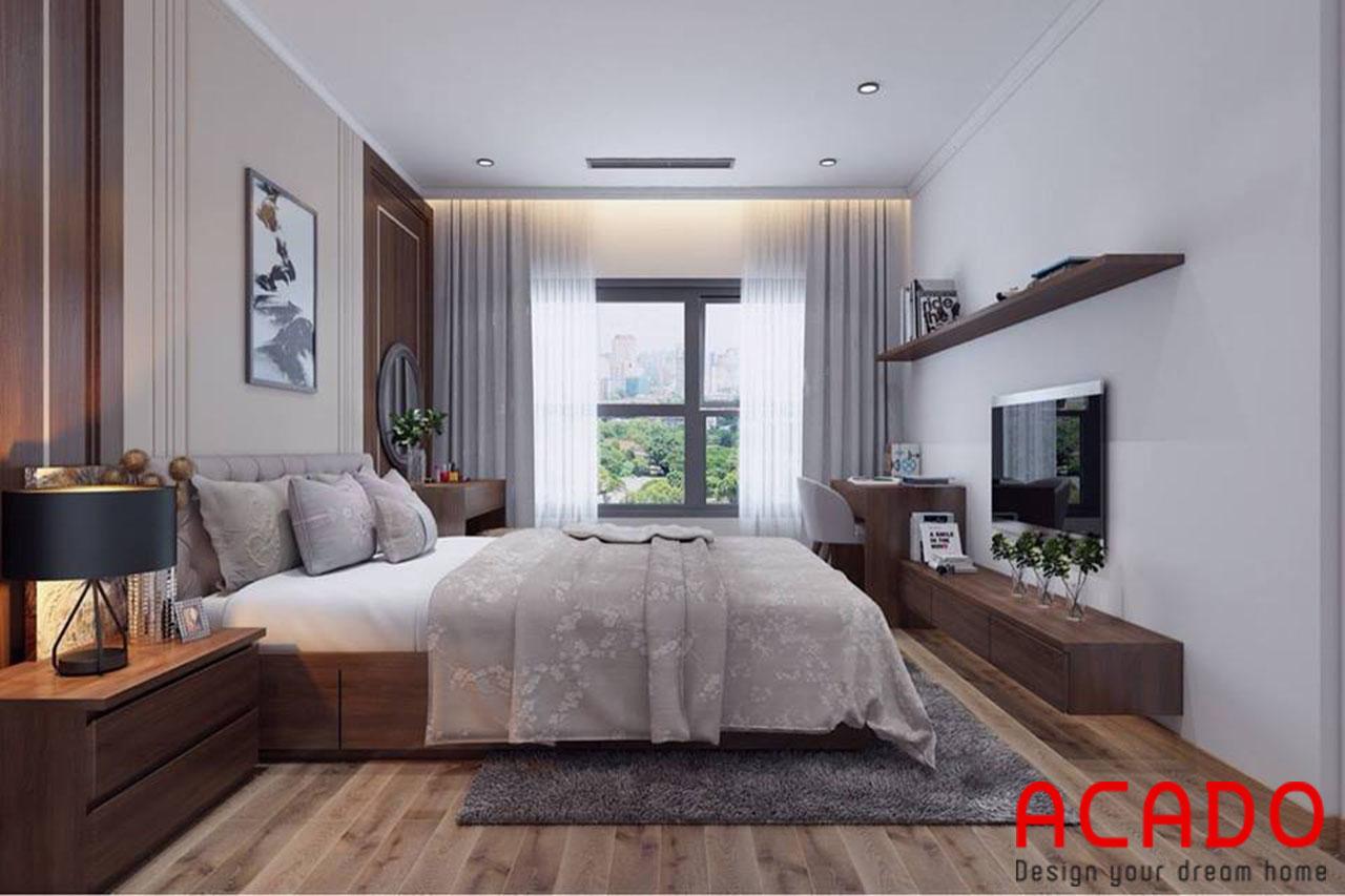 Thiết kế phòng ngủ kết hợp thêm kệ tivi và giá sách trang trí