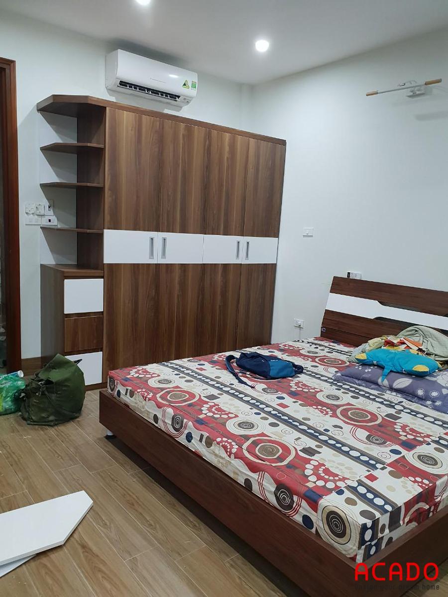 Tủ quần áo Melamine màu giả vân gỗ ấm cúng, gần gũi