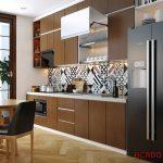 Tủ bếp Laminate màu nâu cafe sang trọng, hiện đại