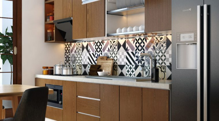 Tủ bếp thùng tủ nhựa Picomat cánh Laminate màu nâu cafe sang trọng, hiện đại