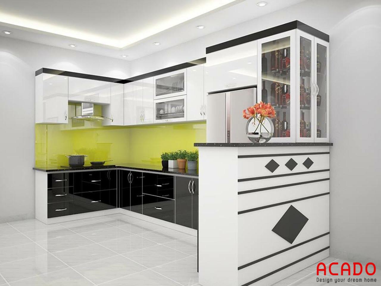 Tủ bếp Picomat chữ U , cánh Acrylic trắng đen hiện đại, sang trọng