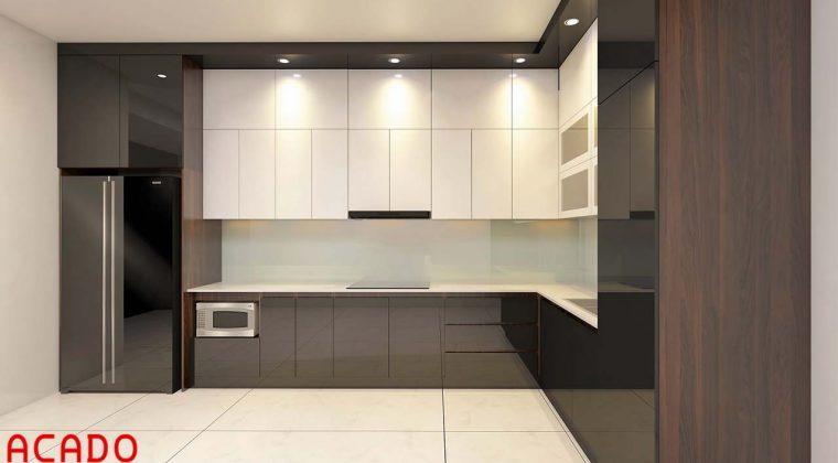 Tủ bếp Acrylic bóng gương màu trắng- đen sang trọng