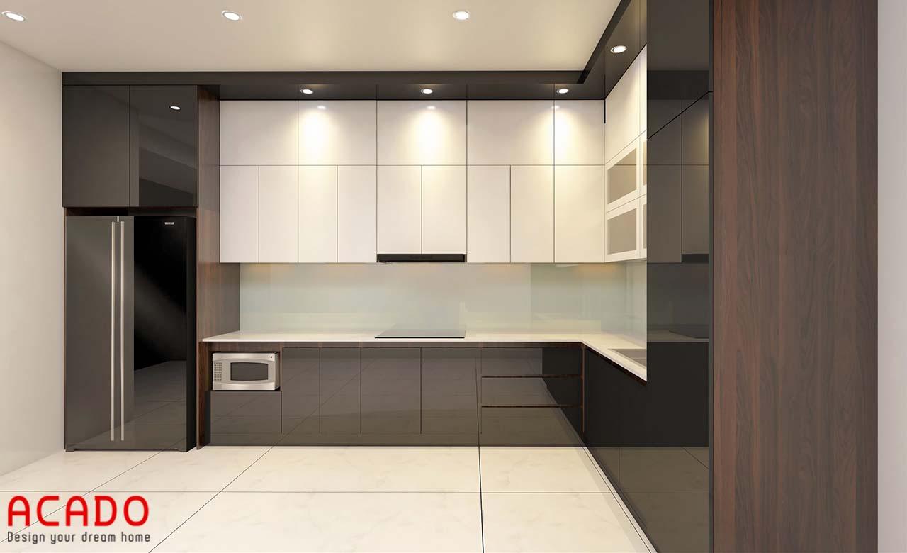 Tủ bếp Acrylic bóng gương hiện đại, sang trọng cho không gian bếp nhà bạn